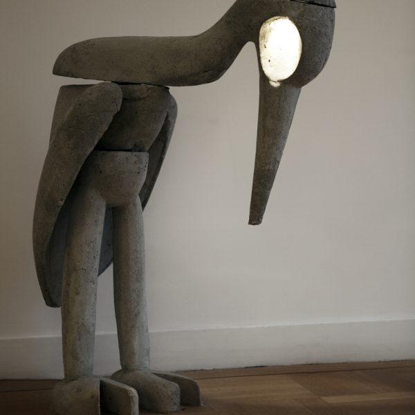 Reiger | beton + licht | hoogte: 120 cm |