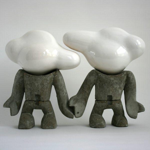 Geschakeld 2 | Hoogte : 54 cm |  beton en keramiek