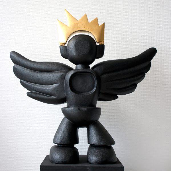 Dark Angel | coated PU + bladgoud | hoogte : 90 cm