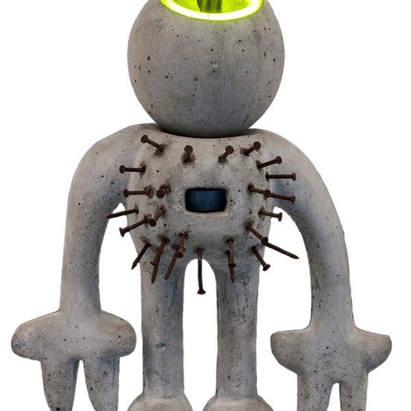 Gris Man | beton + neon | hoogte : 65 cm
