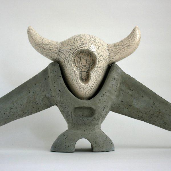 Sputnik | beton + keramiek | hoogte : 40 cm